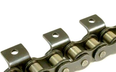 Double pitch roller chain attachments