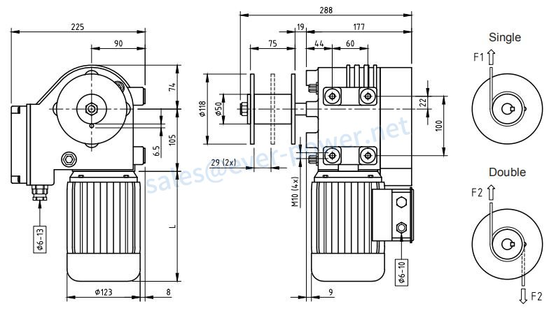 Motor Gearboxes With Winch Drum