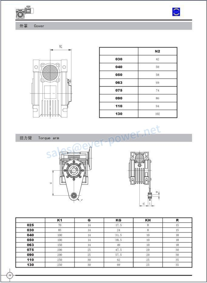 NMRV Worm Reducer - NRV Dimensions 2