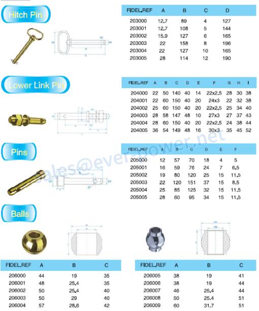 hitch pin lower link pin pins balls