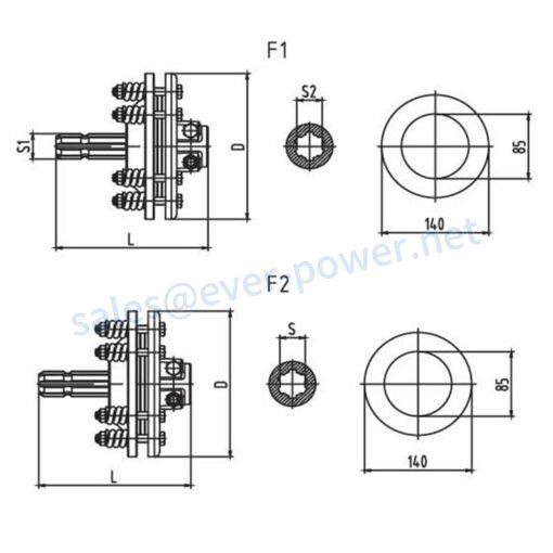 Friction torque limiter FFVS1-FFVS2-FFVS3-FFVS4 Series for PTO drive shafts