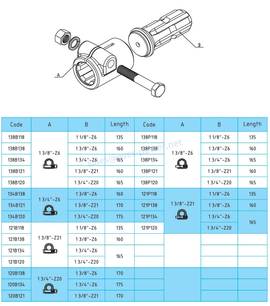 PTO Adaptor & splined shaft and CROSS for PTO drive shafts