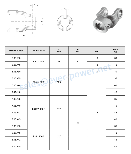 Plain bore yoke a pin-hole for agricultural pto shaft