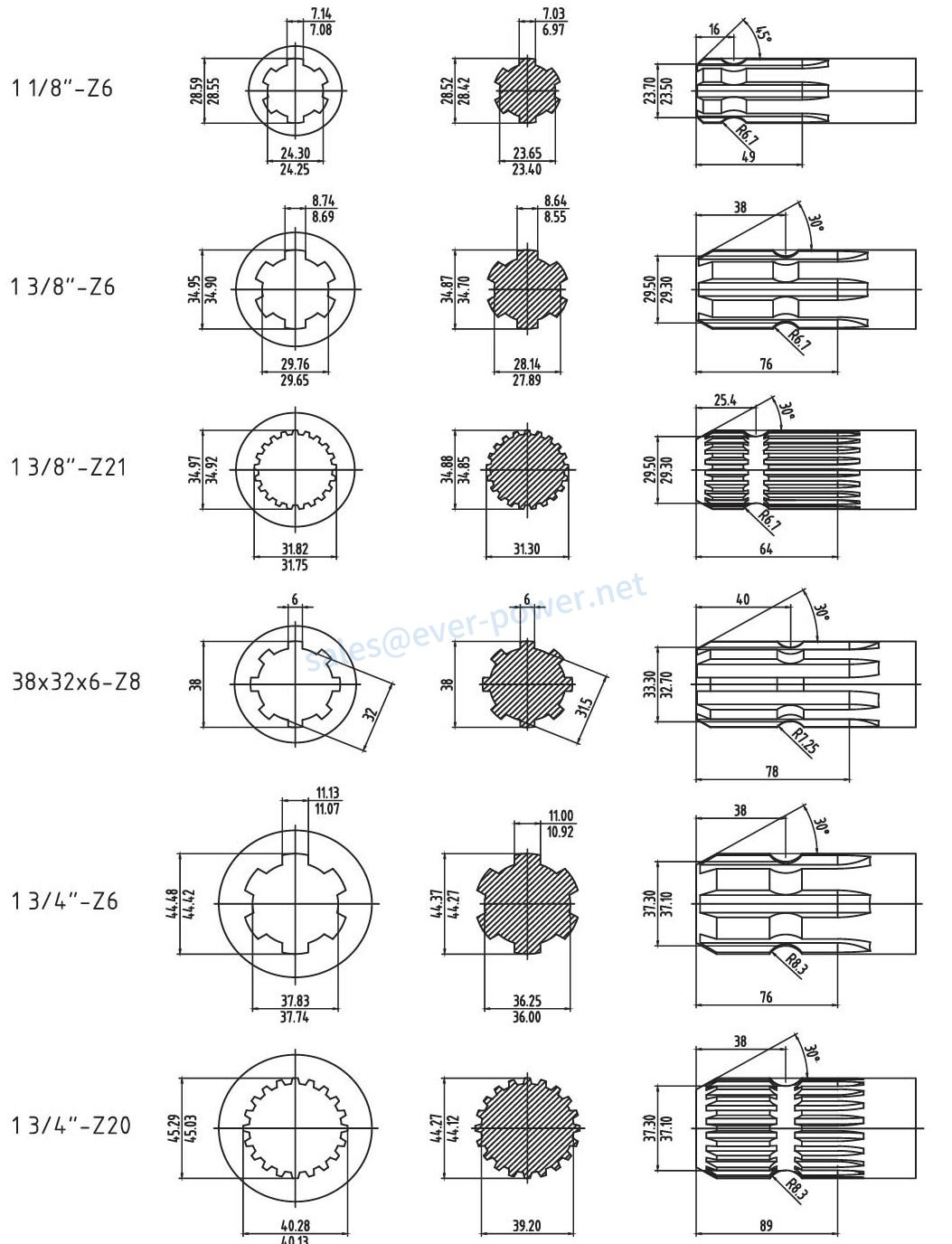 Splined dimensions for PTO drive shafts