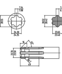 Splined dimensions for PTO drive shafts - Splined dimensions for PTO drive shafts 247x296