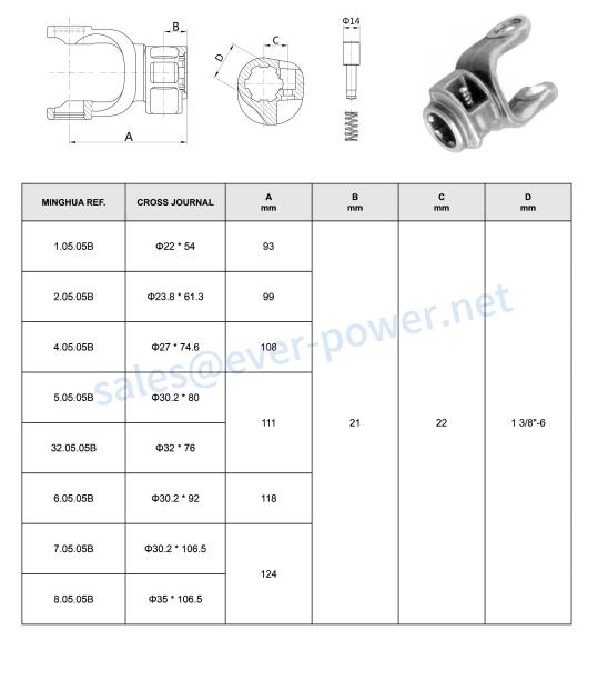 Splined yoke 05-pushpin for agricultural pto shaft